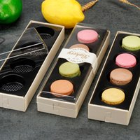 Macarons Kästen mit klarem PVC-Fenster Cookie-Paket Holz Back Box für Party Chocolate Muffin Biscuits