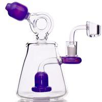 7''purple dab rig conduites d'eau quartz banger verre bong douche perc grasses plates-formes pétrolières mini barboteur