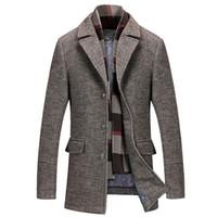 Mężczyźni Płaszcz Zimowy Mężczyźni Mężczyźni Dorywczo Wełna Trench Coat Moda Biznes Długie Zagęszczona Szczupła Kurtka Parka Ubrania Długie