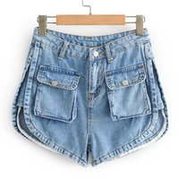 SeeBeautiful Denim Shorts Female Lace- up Button Pockets Patc...