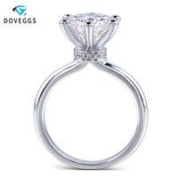 Centro anillo de oro blanco DovEggs sólido clásico 14K 1 cuenta 2ct 3ct 4CT quilate color F moissanite anillo de compromiso para las mujeres T200701