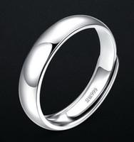 Los hombres del anillo de 999 anillos de plata esterlina joyería sencilla superficie de apertura del anillo de plata de 4,8 g espesa la superficie sólido arco interior del hotsell de regalo exquisita