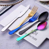 Acero inoxidable vajilla juegos de cuchillas Tenedor Cuchara Cubiertos Sets Cubiertos colorida vajilla 6 estilo 5pcs / set-A LXL277