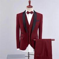 2021 Mode Burgund Mans 'Anzüge Blazer Lang mit Hosen Hochzeit Smoking für Brautgoom Business männer Formale Party Trage Anzüge 4 Stück