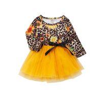 IN Leopard Blumenmädchenkleider lange Hülse Tutu Kinder kleiden Kinder Designer-Kleidung Mädchen A8197 Prinzessinkleid Babykleid Babykleidung