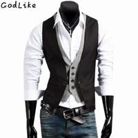 Chaleco de traje para hombre Diseñador de marca de marca personalizada Vestido de negocios formal Fit Slim Fit Gilet Masculino sin mangas de chaleco