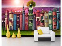 Benutzerdefinierte Silk Fototapete der Fototapete des kreativen Buches Hausbuchhintergrundlavendelmanor-Fernsehhintergrundwandpapier für Wände 3d