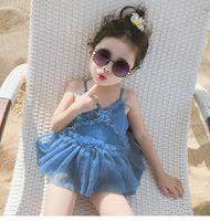 Verão New Girls Lace Swimsuits Kids Inflamar Suspender Tulle Tule One-peça Natação Estilo Coreano Crianças Princesa Banhando Ternos A2824