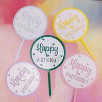Nuevo feliz cumpleaños pastel de acrílico Topper corazón lindo doble capa Cake Topper para niñas decoraciones de fiesta de cumpleaños Baby Shower