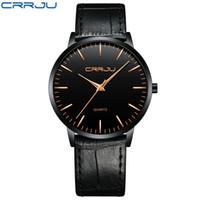 2021 Montres de luxe Mens Montres Crrju Hommes Ultra Thin Three Sport Quartz Montre-Bracelet Homme Slim Cuir Strap Cadeau Clock Reloj Hombre