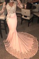 블러쉬 핑크 높은 목 Memmaid 댄스 파티 드레스 섹시한 긴 소매 플러스 사이즈 이브닝 가운 사우디 아라비아 정장 파티 반짝이 드레스 BC3997