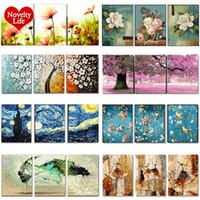 3 adet DIY Yağlıboya Resim by Numbers Çiçek Triptych Resimleri hayvan boyama manzara soyut boya Duvar Sticker ev dekor hediye T200414
