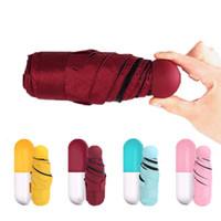 2018 caso Capsule Umbrella Ultra Luz Mini Folding Umbrella Compact bolso guarda-chuva Windproof chuva guarda-sóis LX8244