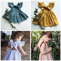 Baby-Kleidung für Kinder Zurück Bouknot A-Linie Kleider Baumwolle Leinen Rüschen Prinzessin Kleid-Sommer-Fly Sleeve Ferien Sundress Tutu-Kleid BYP556