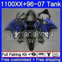 + Бак для HONDA Blue flames hot Blackbird CBR 1100XX CBR1100 XX 02 03 04 05 06 07 271HM.28 CBR1100XX 2002 2003 2004 2005 2006 2007 обтекатели