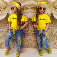 여름 아기 옷 여자 세트 편지 노란색 트럼펫 슬리브 티셔츠 + 스팽글 청바지 + 헤어 밴드 어린이 3 피스 슈트 2480