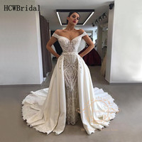 2020 Glamorous Mermaid Lace Arabic Wedding Dresses Off The S...