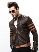 Куртка на молнии Mens High-End Pu Кожа Мотоцикл Кожа Logans Бомбер Куртка Повседневная Outwearr Mans Пальто Куртка Размер M-5XL