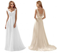 Romantisk Back Lace Bröllopsklänningar Klänning Empire Applique Chiffon Backless Sweep Train White Ivory Bridal Gowns Vestidos DE
