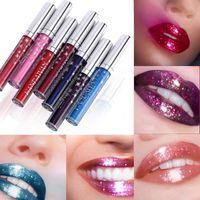 7 cores Lip Gloss longa duração brilhante brilho fosco batom líquido lábio impermeável a composição metálica batom rosa roxo azul