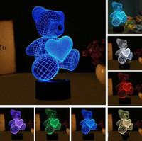 Urso do amor do coração novo dos desenhos animados lâmpada LED Forma Tabela USB 7 Cores GB1497