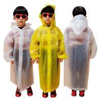 الاطفال معطف واق من المطر 110 * 55CM 4 ألوان EVA الأطفال للماء معطف المطر واضح شفاف جولة ملابس ضد المطر البدلة LJJO7847