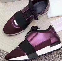 2019 Sıcak Moda Klasik Tasarımcı Sneaker Adam Kadın Rahat Ayakkabılar Hakiki Deri Örgü Sivri Burun Yarışı Runner Ayakkabı Açık Havada Eğitmenler