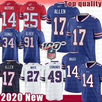 17 Josh Allen 14 Sammy Watkins Football Jersey 49 Tremaine Edmunds 27 Tre'Davious Branca 91 Oliver Jim Kelly Thurman Thomas Buffalo