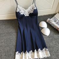 Fashion-Sexy Sleepwear Satin Nightgown Dla Kobiet Ladies Bez Rękawów Nightwear NightGown Nightdress Seksowna sukienka z klatkami piersiowymi # F20