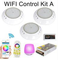 WiFi LED بركة ضوء RGB 2.4G عدة أضواء تحت الماء الراتنج معبأ foco par56 18W 42W piscina مصباح مع توقيت باهتة التطبيق