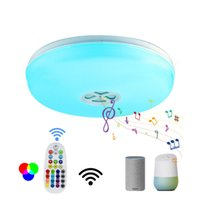 Music Speaker Wifi Tuya 24w Remote Control Led Ceiling Light RGB Dimmable Smart Led Ceiling Light Fixture works Alexa