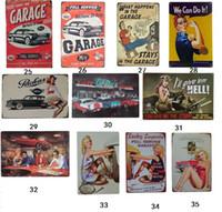 20 * 30 cm classique voiture de garage sexy fille blonde affiche Tin Sign Café auto service Boutique Bar Restaurant Mur Art décoration Bar En métal signes