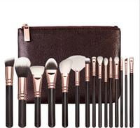 Marque de haute qualité pinceau de maquillage 15PCS / Set Brosse avec PU Sac Pinceau professionnel pour fond de teint poudre fard à joues fard à paupières