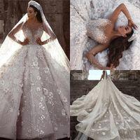 Elie Saab 2020 Suknia Balowa Długie Sleevs Suknie Ślubne Luksusowe Kryształ Zroszony 3D Kwiaty Koronki Plus Size Saudyjska Arabska Dubai Bridal Suknia