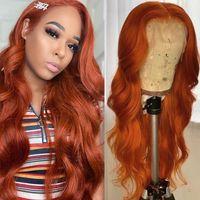 Ishow Brasilianische Körperwelle 13x1 Menschliche Haarperücken Orange Ingwer Blau Rot Rosa 99J Farbe Remy Prepucked Lace Front Perücke Für Frauen Mädchen Alle Alters 8-28INCH