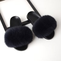 Fur Slippers Women Real Fox Fur Slides Home Furry Flat Sanda...