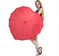 Paraguas de forma de corazón rojo Paraguas Romántico Paraguas de mango largo para accesorios de fotos de boda Paraguas regalo de San Valentín