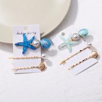 Venta caliente del estilo mujeres del verano colorido de las estrellas de mar y Shell Charm horquilla de pelo plateado de oro rosa clips 3 PCS / Set