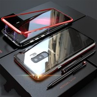 Çift Cam Manyetik Metal Kasa Samsung Galaxy S10 S10 Artı S9 S9 Artı Not 8 Not 9 Temperli Cam Geri Mıknatıs Kapak