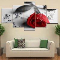 Pinturas sobre lienzo marco Decoración de la sala pared del arte de las flores 5 Piezas rosa rojo impresiones fotográficas modular de piedra pétalo cartel