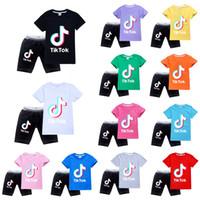 HOT Продажа Tik Tok Дети футболки Брюки двухсекционный хлопка Удобная дышащий с коротким рукавом детей Одежда для детей Шорты tiktok