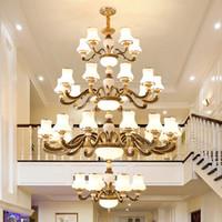Avrupa lüks kolye led villa otel lobisinde merdiven için alaşım avizeler ışıklar altın uzun kolye avize aydınlatma çinko lambalar büyük