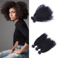 Mechones de cabello rizado rizado humano brasileño de la Virgen teje del pelo del color natural 3 paquetes para las mujeres Negro