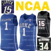 NCAA Ja 12 Morant Giannis 34 Antetokounmpo Jersey Allen Iverson 3 Vince Carter 15 Sion 1 Williamson College Basketball Maglie
