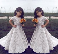 free shipping lace princess flower girl' s dress white g...