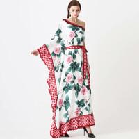Kadın pist elbiseler seksi bir omuz ruffles çiçek baskılı kanat kemer gevşek tasarım moda uzun maxi bohemian elbiseler