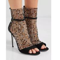 Горячая распродажа-2019 дамы овчины замши открыть 9 см супер высокие каблуки Rhineston выдалбливают сандалии обувь ню 34-42