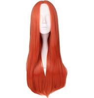 Kadınlar Uzun Düz Tam Saç Peruk Cosplay Parti Turuncu Kırmızı 100% Yüksek Sıcaklık Sentetik Saç Peruk