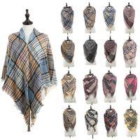 Женская мода плед шарфы Lady Сетка кисточкой Крупногабаритные шаль Шотландка площади Шарф зимний Check шейный Одеяло Обертка TTA1751
