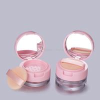 3 5 ml / g en plastique vide poudre de poudre visage poudre de maquillage de maquillage pot cosmétique de jar conteneurs de maquillage cosmétique avec sifter et retournez miroir de couvercles roses